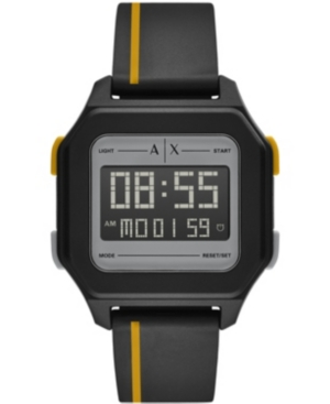 Ax Men's Digital Silicone Strap Watch 44mm