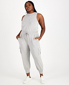 Trendy Plus Size Sleeveless Knit Jumpsuit, Created for Macy's