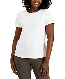 Cotton Buckle-Sleeve Top, Created for Macy's