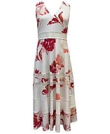Plus Size Lace-Inset Midi Dress
