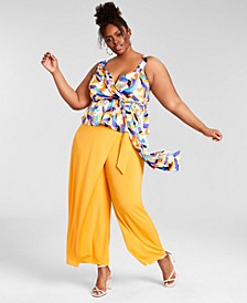 Trendy Plus Size Asymmetrical Wrap Pants, Created for Macy's