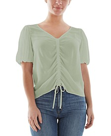 Juniors' Ruched Bubble-Sleeve Top