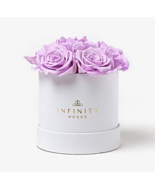 Round Box of 7 Lavender Real Roses Preserved To Last Over A Year