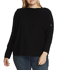 Women's Plus Size Dolman Sleeve Cozy Top