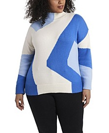 Women's Plus Size Intarsia Mock Neck Sweater