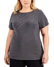 Plus Size Cotton Studded Slit-Sleeve Top, Created for Macy's