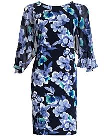 Floral-Print Sheer-Sleeve Dress