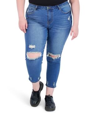 Trendy Plus Size Minimum Destruction High-Rise Skinny Jeans