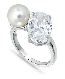 Cubic Zirconia and Imitation Pearl Stone Ring in Fine Silver Plate, Created for Macy's