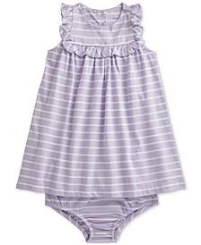 Ralph Lauren Baby Girls Striped Cotton Dress Bloomer