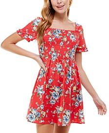 Juniors' Floral-Print Smocked Fit & Flare Dress
