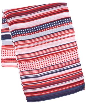 Stripe Dot Oblong Scarf