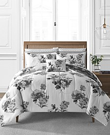 Hanna 12-Pc. Reversible Floral Queen Comforter Set, Created for Macy's