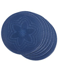 Design Import Floral Woven Round Placemat, Set of 6