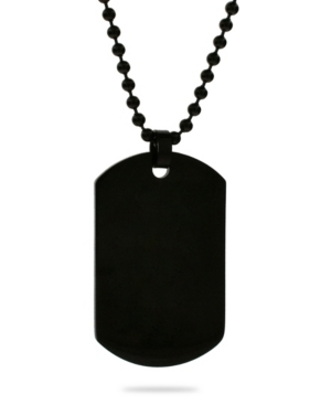 Men's Black Plated Medium Stainless Steel Dog Tag Necklace