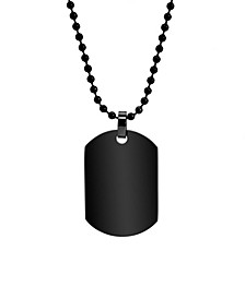 Men's Black Plated Small Stainless Steel Dog Tag Necklace
