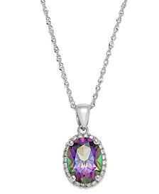 14k White Gold Mystic Topaz (2 ct. t.w.) and Diamond Accent Pendant Necklace