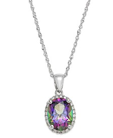 14k White Gold Mystic Topaz (2 ct. t.w.) and Diamond Accent Pendant Necklace