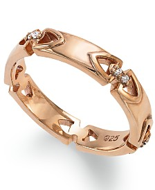 Proposition Love Women's 14k Rose Gold over Silver Diamond Accent Wedding Band