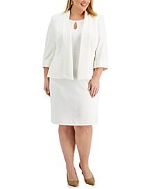 Plus Size Textured Shawl-Collar Jacket & Keyhole Dress