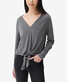 Tie-Front V-Neck Top