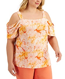 Plus Size Printed Cold-Shoulder Top, Created for Macy's