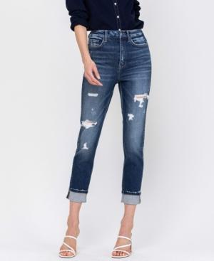 Women's High Rise Distressed Cuffed Stretch Mom Jeans