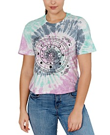 Juniors' Celestial-Graphic Tie-Dyed T-Shirt
