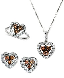 Chocolate Diamond® & Nude Diamond™ Heart Collection in 14k White Gold