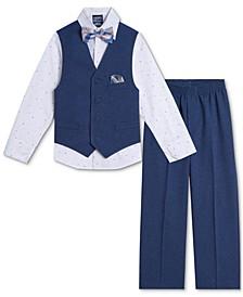 Baby Boys Shirt, Poplin Vest, Pants & Bowtie Set