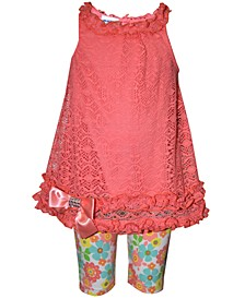 Baby Girls 2-Pc. Lace Top & Floral-Print Shorts Set
