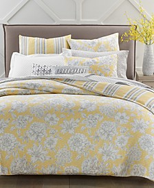 300-Thread Count Cotton Outline Botanical 3-Pc. Reversible Full/Queen Duvet Set, Created for Macy's