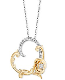 "Diamond Belle Rose Heart Pendant Necklace (1/10 ct. t.w.) in Sterling Silver & 14k Gold, 16"" + 2"" extender"