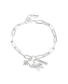 Fine Silver Plated Crystal Elephant Link Bracelet