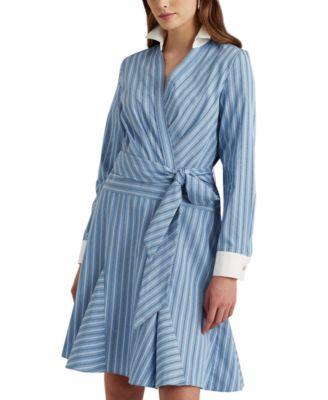 로렌 랄프로렌 Lauren Ralph Lauren Pinstripe Cotton Poplin Shirtdress,Cabana Blue/white/multi