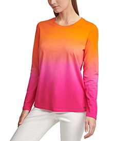 Ombré Knit Long-Sleeve Top