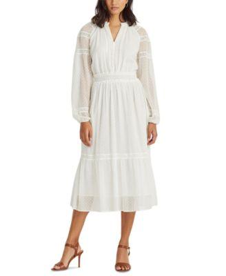 로렌 랄프로렌 Lauren Ralph Lauren Polka-Dot Lace-Trim Dobby Dress,Lauren White
