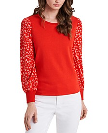 Reagan Printed-Sleeve Sweater, Created for Macy's