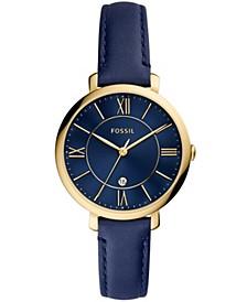 Women's Jaqueline Gold-Tone blue Leather Strap Watch 36mm