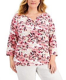 Plus Size Tropical Adventure Henley Top, Created for Macy's