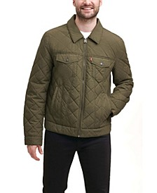 Men's Diamond Quilted Cotton Trucker Jacket