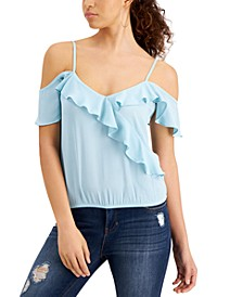 Juniors' Ruffled Cold-Shoulder Top