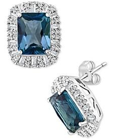 EFFY® London Blue Topaz (5-1/2 ct. t.w.) & Diamond (5/8 ct. t.w.) Halo Stud Earrings in 14k White Gold