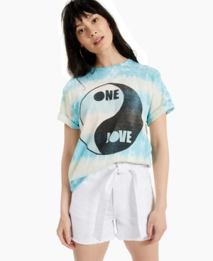 Women's Cotton Tie-Dyed One Love-Graphic T-Shirt