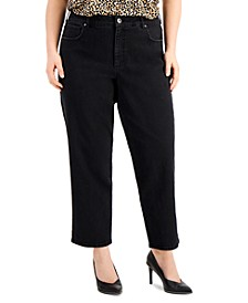 Plus Size High-Rise Straight-Leg Jeans, Created for Macy's