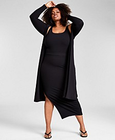 Trendy Plus Size Ribbed Knit Duster, Created for Macy's