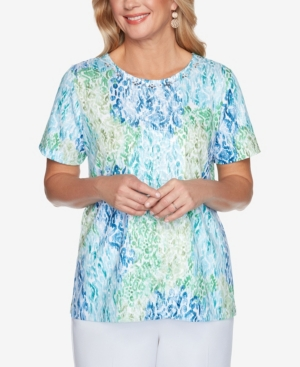 Alfred Dunner PLUS SIZE CLASSICS S1 ANIMAL PATCHWORK PRINT TOP
