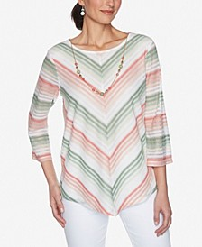 Plus Size Springtime in Paris Chevron Stripe with Necklace Top