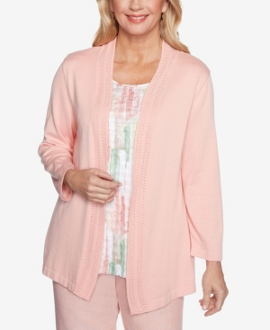 Alfred Dunner Clothing PLUS SIZE SPRINGTIME IN PARIS BRUSHSTROKES INNER TWO FOR ONE SWEATER