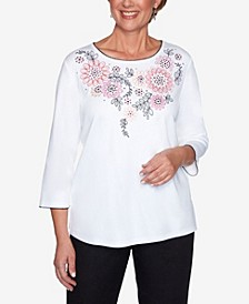 Plus Size Clean Getaway Floral Embroidered Yoke Top